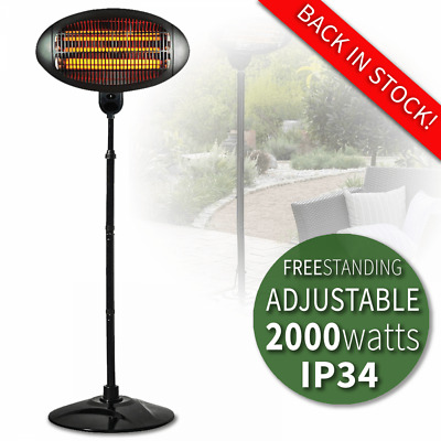 2kW Patio Heater Garden Free Standing Electric Halogen Garden Warmer Mains IP34 • 79.99£