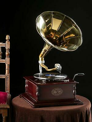 £83.99 • Buy Gramophone With Brass Horn ~ Record Player – 78 Rpm Vinyl Phonograph