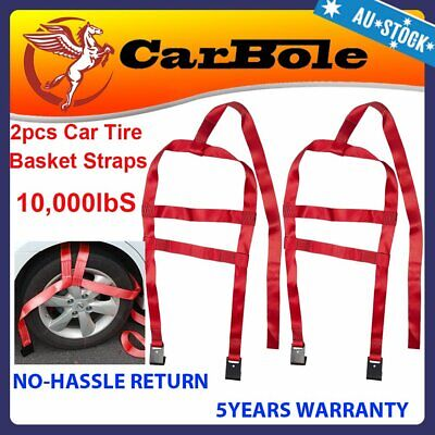 AU42.99 • Buy 2PCS 3300LBS Tow Dolly Basket Strap For 17 -21  DEMCO Wheel Net Set Red Carbole