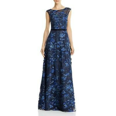 $65.81 • Buy Aidan Mattox Womens Navy Embroidered Illusion Prom Formal Dress Gown 4 BHFO 9082