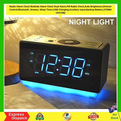 AU57.99 • Buy Digital Alarm Clock FM Radio Bedside Night Light,Dual Alarms USB Charge LED NEW