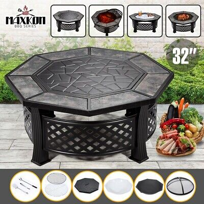 AU249.95 • Buy 32  Fire Pit 4-in-1 Patio BBQ Table Grill Camping Heater Fireplace Brazier