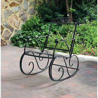 $111.12 • Buy Outdoor Metal Rocking Chair Patio Glider Rocker Porch Chair Garden Deck Seat NEW