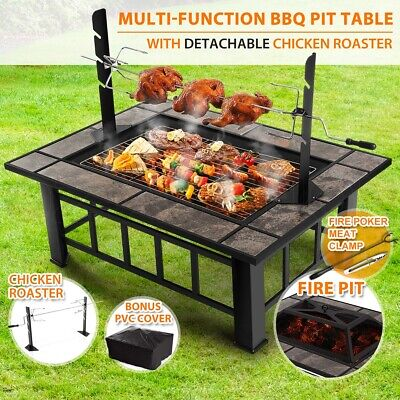 AU199.95 • Buy 3 In 1 Extra Long Outdoor Fire Pit Garden BBQ Table Multi-Function Grill Heater