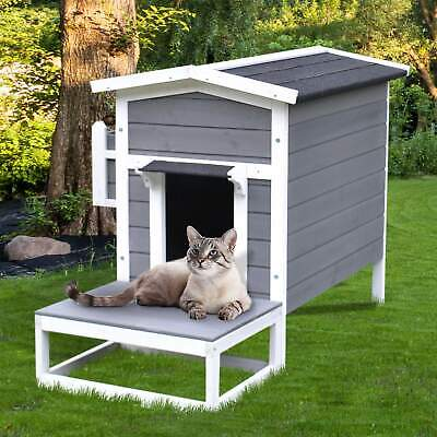 $129.99 • Buy PawHut Wooden Large Deluxe Elevated Indoor Outdoor Cat Dog House With Porch