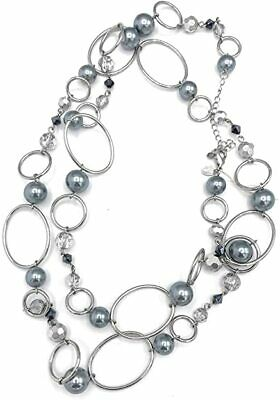 "$ CDN20.29 • Buy New! Lia Sophia  Alpine"" Silver/Gray Glass Pearls & Resin Beads Long Necklace"