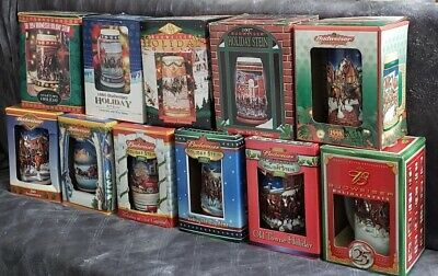 $ CDN204.36 • Buy 14 Budweiser Holiday Beer Steins!  Great Condition! Most In Boxes!