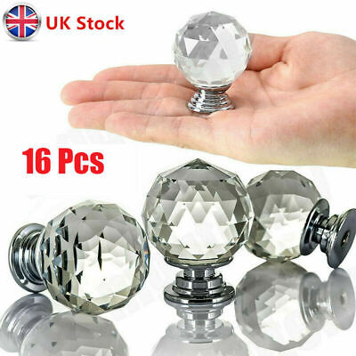 16x Crystal Diamond Door Knobs Cupboard Wardrob Clear Cabinet Draw Pull Handle • 7.29£