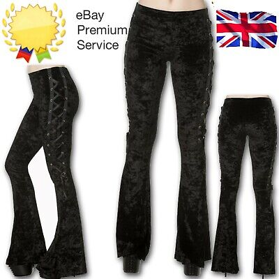 Velvet Flared Corset Lace Tie Gothic Rockabilly Punk Emo Trousers BANNED Retro • 26.99£