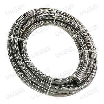 £7.99 • Buy AN -4 AN4 3/16  5MM - Silver Stainless Steel Braided Fuel Oil Coolant Hose 1M