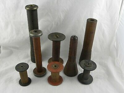 $34.99 • Buy  Vintage Wooden Industrial Thread Spool Bobbin Sewing Spindle Bundle LOT--#2