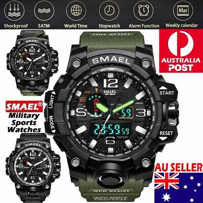 AU25.99 • Buy SMAEL Mens Waterproof Sports Military Shock Analog Quartz Digital Wrist Watch