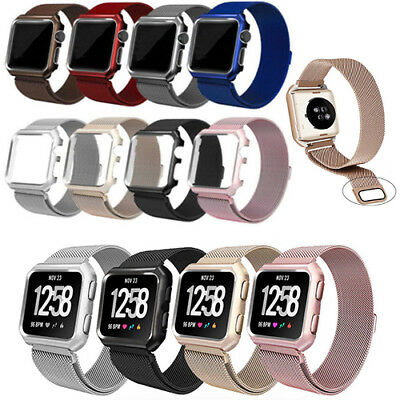 $ CDN16.97 • Buy New Magnetic Loop Stainless Steel Band W/ Metal Frame For Fitbit Versa Tracker