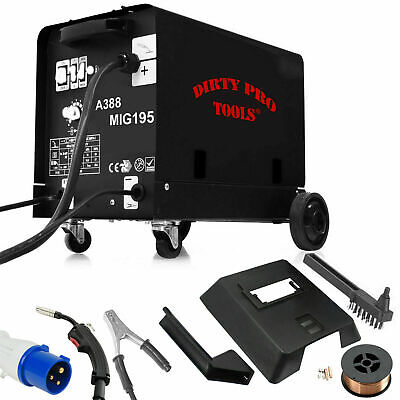 Professional Gasless Mig Welder 195A New 195 Amp 230V No Gas With Accessories • 154.99£