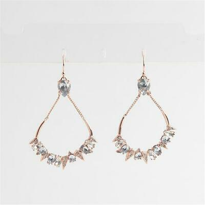 $40 • Buy Alexis Bittar Crystal Encrusted Mosaic Futuristic Tear Earrings Rose Gold
