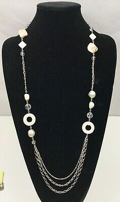 $ CDN24.09 • Buy New! Lia Sophia  Heathered  Mother Of Pearl Cut Crystals Silver Long Necklace