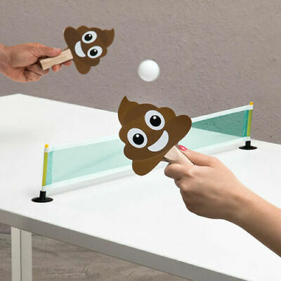 Poo Ping Pong Game Portable Table Tennis Suction Cup Net 2 Poo Paddles 2 Balls • 8.95£