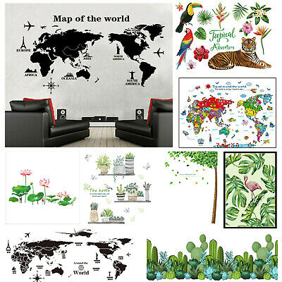 Tropical Tiger Green Plants & World Map PVC DIY Wall Stickers Removable Decal  • 5.80£