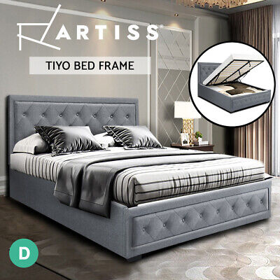 AU237.95 • Buy Artiss Bed Frame Double Full Size Gas Lift Base With Storage Grey Fabric TIYO