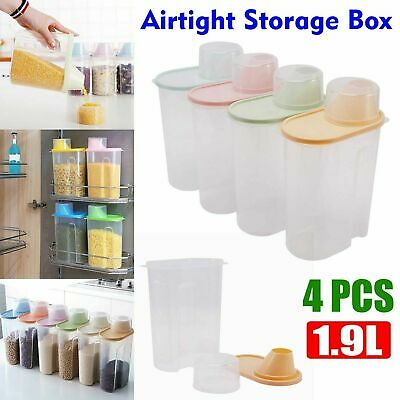 £8.99 • Buy 4 Large Cereal Dispenser Dry Food Pasta Rice Storage Container Large Plastic Box