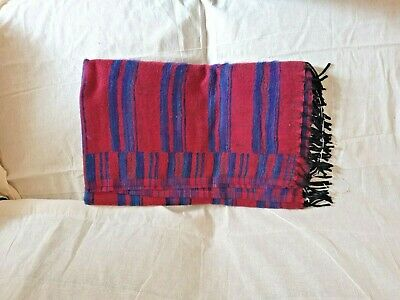 Super Soft Yak Wool Ethically Sourced Large Blanket Handmade In Nepal Red & Blue • 14.99£