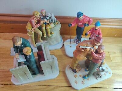 $ CDN389.25 • Buy Norman Rockwell Dad's Boy Porcelain Figurine Set Of 4 Gorham First Edition Mint