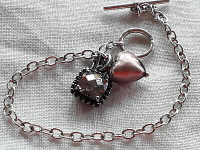 Vintage Solid Silver T-bar And Foil Heart Bead  Link Bracelet + 925 & CZ Fob • 16.99£