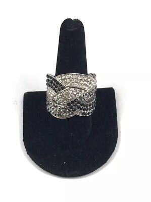 $ CDN16.28 • Buy Lia Sophia  Cocktail Hour  Gray/Black/Clear Cut Crystals Silver Tone Ring Size 9