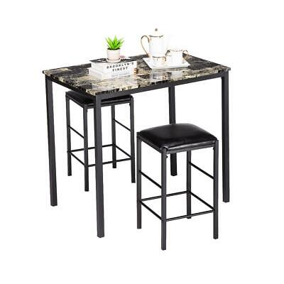 $89.69 • Buy 3 Piece Marble Dining Table Set 2 Leather Chairs Kitchen Breakfast Furniture NEW