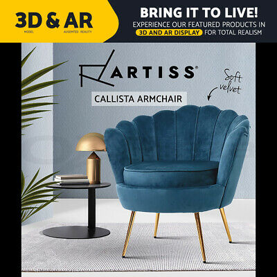 AU159.95 • Buy Artiss Armchair Lounge Chair Accent Retro Armchairs Lounge Shell Velvet Navy