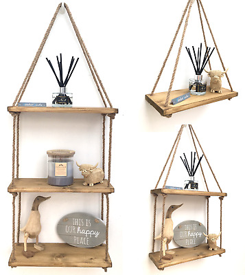 1-3Tier Rustic Solid Wood Rope Wall Shelf Hanging Storage Display Floating Shelf • 12.64£