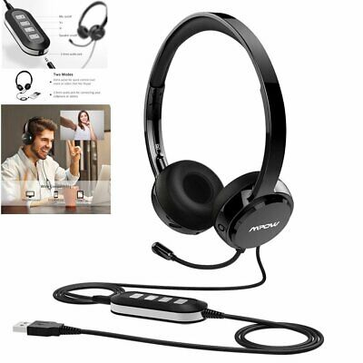 MPOW 3.5mm USB Headset Computer Headphones Noise Cancelling For Skype PC Laptop • 24.90£