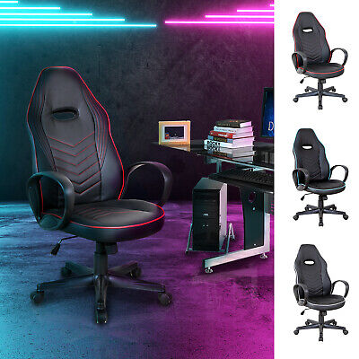 Executive Office/ Gaming Chair PU Leather Adjustable Padded Seat W/ Wheels • 79.99£