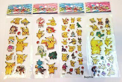 Pokemon Stickers Pikachu Children Party Bag Fillers Gifts Stationery Crafts • 2.29£