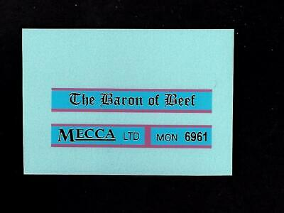 MATCHBOX TRANSFERS/DECALS - 5c LONDON BUS -  Baron Of Beef  • 2£