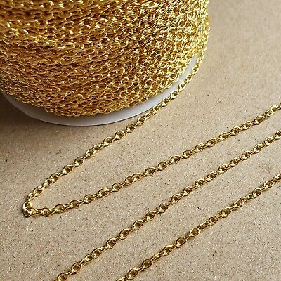 Gold Colour Plated Loose Cable Jewellery Making Chain 1m 2m 5 Metre 2x3mm Links • 2.49£