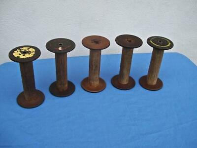 $54.99 • Buy (lot Of 5 ) Antique Wooden Thread Spools Bobbin Spindles Industrial Textile Mill