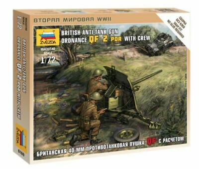 Zvezda 1/72 British Ordnance QF 2PDR Anti Tank Gun With Crew Z6169 • 4.95£