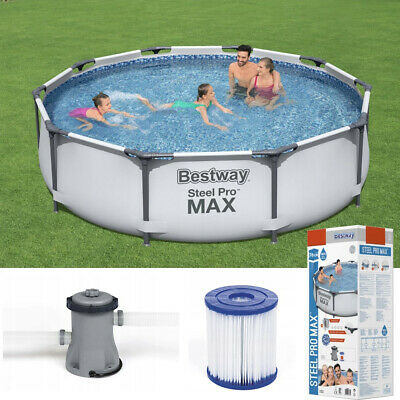 GARDEN SWIMMING POOL 305 Cm 10FT Round Frame Above Ground Pool With PUMP SET • 259.81£