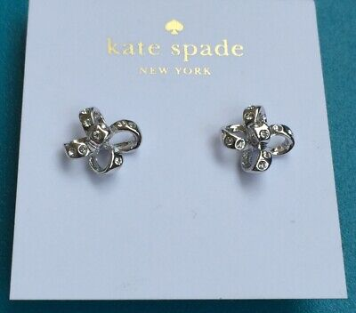 """$ CDN36.48 • Buy KATE SPADE Clear Silver Tone """"It's A Tie"""" Earrings Pretty Icy Crystal Bows NEW"""