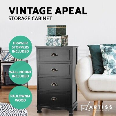 AU93.90 • Buy Artiss Bedside Table Chest Of Drawers Dresser Cabinet Nightstand Tables Vintage