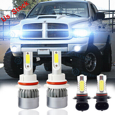 $23.97 • Buy For 2003-2005 Dodge Ram 1500 2500 3500 4X 6000K LED Headlight + Fog Light Bulbs