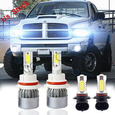 $24.27 • Buy For 2003-2005 Dodge Ram 1500 2500 3500 4X 6000K LED Headlight + Fog Light Bulbs