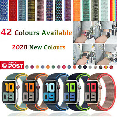 AU8.60 • Buy Sport Nylon Woven Loop Strap Apple Watch Band IWatch Replacement 54321 40mm 44mm