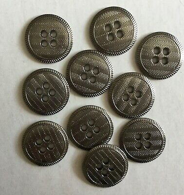 10 Metal Pewter  Coloured 18mm 4 Holed Buttons  • 3.15£