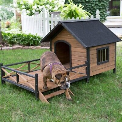 $586.80 • Buy Large Solid Wood Outdoor Dog House With Spacious Deck Porch Elegant Comfortable