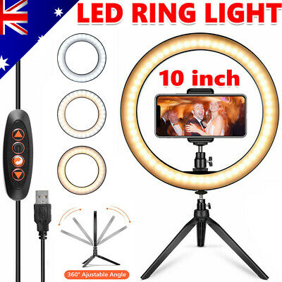 AU24.95 • Buy 10  Dimmable LED Ring Light With Tripod Stand Selfie Make Up Video Lamp Lighting