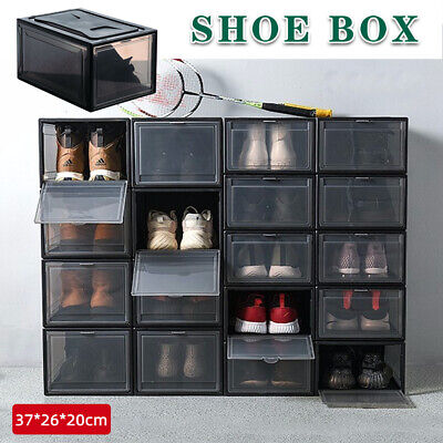 AU37.50 • Buy 6/12pc Stackable Foldable Clear Shoe Storage Plastic Cases Drawer Boxes Wardrobe
