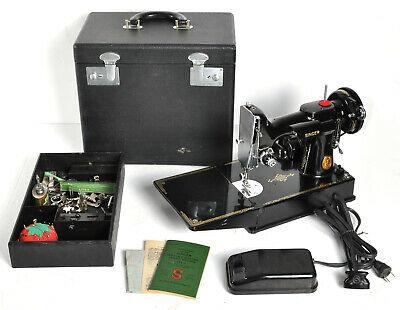 $425 • Buy Vintage Singer 1949 Featherweight Sewing Machine W/ Case Accessories 221