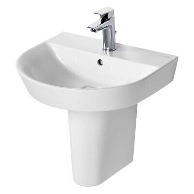 Ideal Standard Concept Air Arc Basin With Semi Pedestal 500mm Wide - 1 Tap Hole • 164.95£